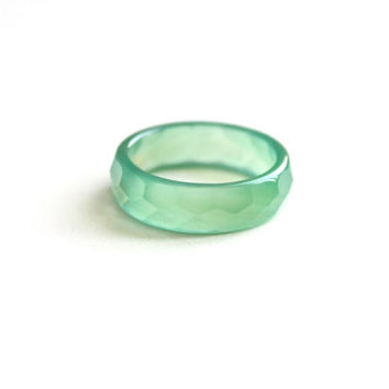 Natural Dark Green Agate Band Ring 5mm. Stackable Gemstone Ring. Faceted Agate Ring. Natural Healing Agate Ring.
