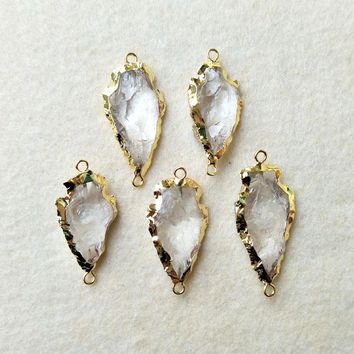 Gold Plated Rough Natural White Quartz Druzy Carved Arrowhead Connector Double Bails DIY Making Bracelet necklace Jewelry CT49