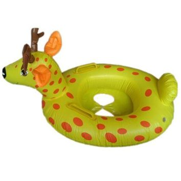 Sika Deer Cartoon Animal Children Inflatable Water Taxis Toy Swim Ring