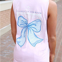 Pink Sleeveless Back Bow Print T-Shirt