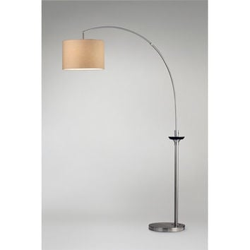 NOVA Lighting 2110392 Delf Pecan and Brushed Nickel One-Light Arc Lamp with Tan Linen Shade