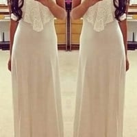 White Spaghetti Strap Sleeveless Maxi Dress