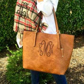 MONOGRAM Brown Purse tote Vegan Whiskey Leather Font shown INTERLOCKING in brown