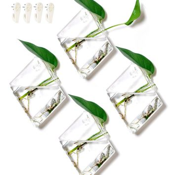 "4-Pack Diamond Terrariums Hanging Wall Planters - Glass Air Plants Succulents Geometric Container (7"" Tall by 5"" Diameter)"