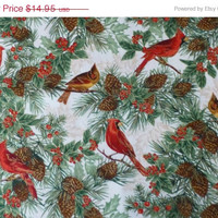 25% OFF Christmas SALE - Cotton Fabric, Home Decor, Craft, Christmas, Cardinals, Nature's Holiday by Timeless Treasures, Fast Shipping