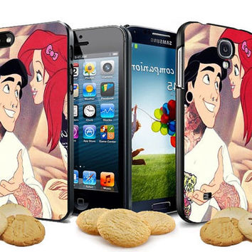 bad ariel mermaid and prince eric make tattoo design for iPhone 4, iPhone 4s, iPhone 5, Samsung Galaxy S3, Samsung Galaxy S4 Case