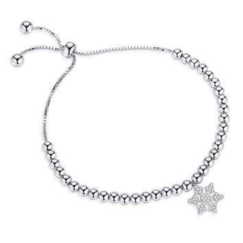 Bead Sliding Adjustable Bracelets For Women With Cubic Zircon Snowflake