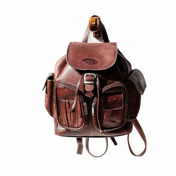 Chestnut Brown Leather Backpack