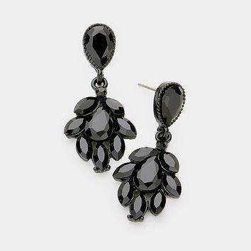 Marquise Crystal Cluster Statement Evening Earrings