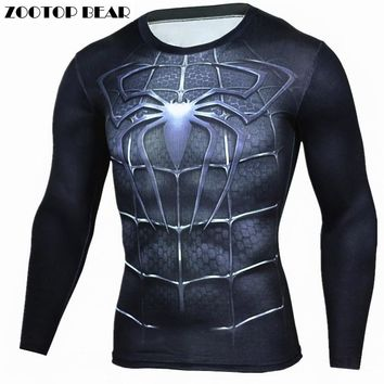 Spiderman T Shirts Men 3D Printed T-shirts Compression Fitness Camisetas 2017 Black Long Sleeve Tops Autumn Superman ZOOTOP BEAR