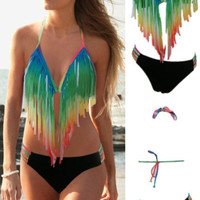 Multicolored Gradient Tassel Bikini Set with Black Strappy Buttom