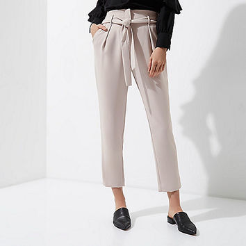 Light grey tie waist tapered pants - Workwear - Sale - women