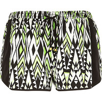 River Island Womens Green geometric print running shorts