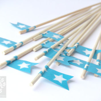 12 Cake Toppers, Washi Tape Flags, white star on cyan background, cupcake topper, wedding, birthday, baby shower, Swizzle Sticks