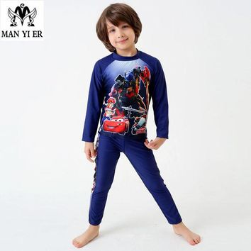 DCCKHG7 MYE 2017 Summer Cute Boys Swimsuit Cartoon Cars Printing Child Surf Suits Long Sleeves Kids Swimwear two color Bathing Suits
