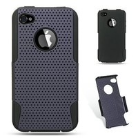 Premiun Hybrid Black Skin + Apex Hard Purple Rubber Phone Protector Cover Case for Iphone 4 AT&T an