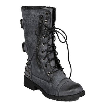Women's Distressed Grey Black Military Lace Up Studded Combat Boots