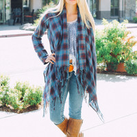 Flannel & Fringe Plaid Cardigan (Wine)