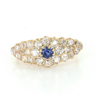 Vintage Art Deco Sapphire Mine Diamond Cocktail Ring 14 Karat Yellow Gold Vintage Fine Jewelry Heirloom