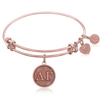 Expandable Bangle in Pink Tone Brass with Delta Gamma Symbol