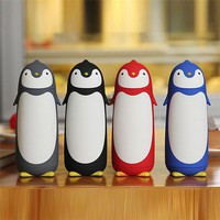 Cute Penguin Insulated Bottles Stainless Steel Silicon Boron Glass Mug Travel Coffee Tea Vacuum Flasks Best Gift for Kids