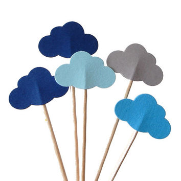 24 Mixed Blue Cloud Party Picks, Cupcake Toppers, Food Picks, Toothpicks, Drink Picks - No289
