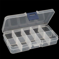 10 Detachable Clear Divided Storage Box Rhinestone Nail Art Tip Reusable 3C