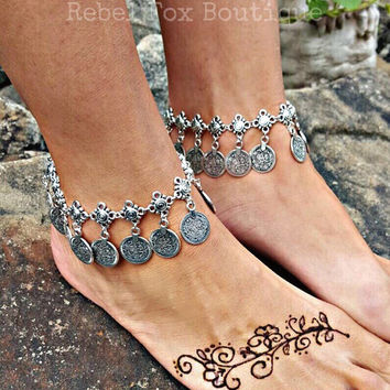 Coachella Boho Chic Statement Bohemian Bracelet Gypsy Turkish Coin Tribal Jewelry Beach Anklet