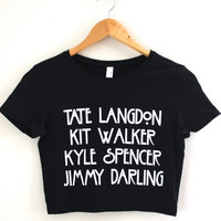 AHS Tate, Kit, Kyle and Jimmy Black Graphic Crop Top