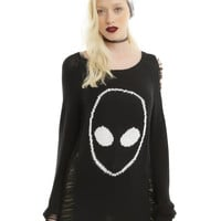 Black & White Alien Destructed Girls Sweater