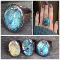 Labradorite Ring Big Ring Gemstone Jewelry Blue Stone Ring Natural Stone Ring Labradorite Jewelry Mineral Jewelry Electroformed Ring Size 8