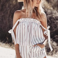 Stripes Off Shoulder Loose Crop Top with Shorts Two Pieces Set