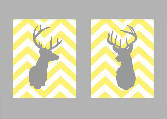 Deer Silhouette with Chevron Zig Zag Stripes  Set of by karimachal