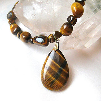 Shimmering tiger-eye pendant necklace. Tawny shades of brown, tan & gold, natural stone jewelry. Long statement necklace, earth-tones