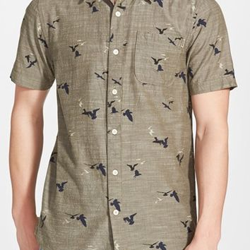 Men's O'Neill 'Gully' Tailored Fit Short Sleeve Print Chambray Woven Shirt,