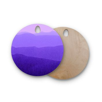 "Iris Lehnhardt ""Gradient Landscape"" Purple Pink Abstract Nature Painting Watercolor Round Wooden Cutting Board"