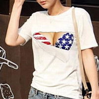 Women's 3D Funny Fake Naked Big Boobs Chest Bra Printed Short Sleeve White Top Tee T Shirt Plus Size S-XXL