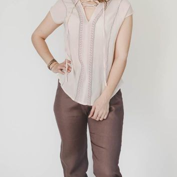 Embroidered Tie Top - Blush
