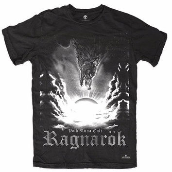 T-shirt RAGNAROK Asatru Wolf Pagan Thor Odin Folk Witchcraft Runes Vikings Blackcraft Warriors Old Religion Vanatru Wicca Witches