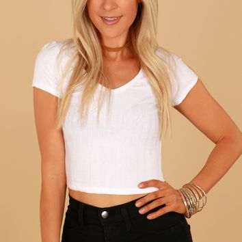Short Sleeve Ribbed Crop Top White