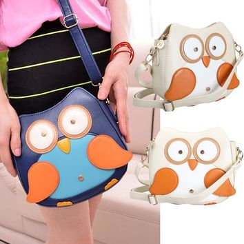 Adjustable Owl Women Leather Handbags Small Crossbody Bags for Women Shoulder Messenger Bags Apricot  2 Colors Dollor Price