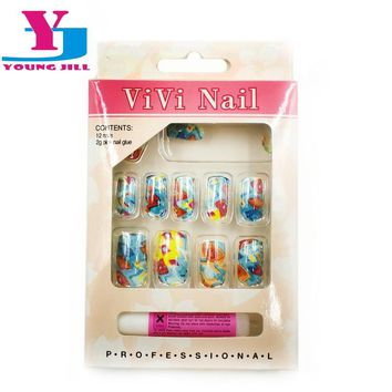Artificial Nails With New Designs UV Gel Colorful Cheap Fake Nails Art Faux Ongels False Nail Tips With Glue For Beauty Women