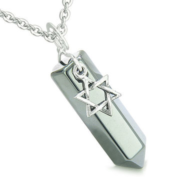 King of Solomon Star of David Crystal Point Magic Charm Hematite Pendant 22 Inch Necklace