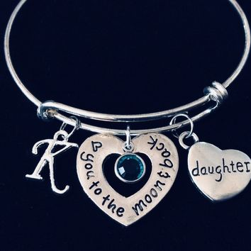 Love You to The Moon and Back Daughter Adjustable Bracelet Expandable Charm Bracelet Silver Wire Bangle Rhinestone Bling Bracelet Gift