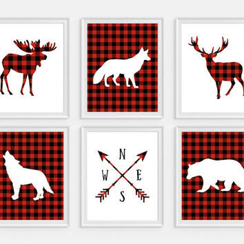 Lumberjack Wall Art, Deer Art Print, Moose, Bear, Fox, Wolf Art, Set of 6, Plaid Decor, Boys Room Decor, Woodland Prints, Rustic Nursery Art