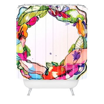 CayenaBlanca Floral Frame Shower Curtain