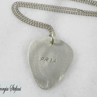 Personalized nickel silver guitar pick chain necklace, Flat cable chain.Mens custom leather necklace.Hand stamped. initials necklace