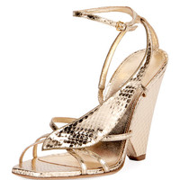 Saint Laurent Niki Snakeskin Wedge Sandal