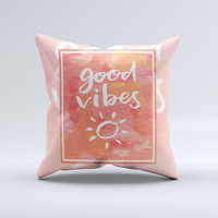 The Good Vibes ink-Fuzed Decorative Throw Pillow