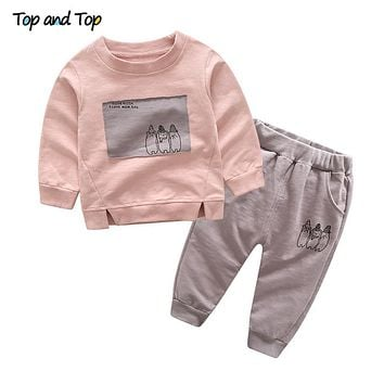 Unisex Baby Cotton Casual Clothing Sets Long Sleeved Printed T shirt+Trousers 2Pcs Cartoon Toddler Clothes